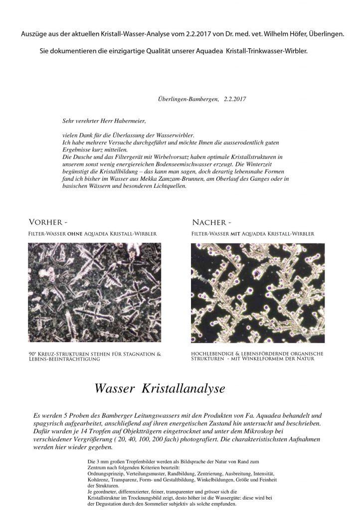 aquadea messungen kristall analyse